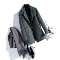 双面呢羊毛混纺大衣女中长款秋季毛呢小外套韩版新款呢大衣零羊绒