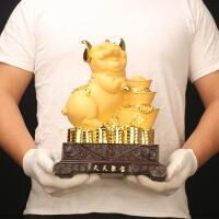 沙金摆件 树脂工艺品 银行保险公司开门红猪年礼品客厅电视柜摆设 天天聚宝沙金猪