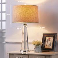 【好货】现代简约欧式水晶台灯卧室床头灯创意酒店大台灯时尚客厅装饰台灯 棕色