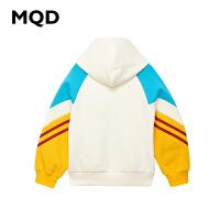 【1件3折:168】MQD童装女童加绒加厚卫衣2019冬季新款儿童保暖拼接连帽韩版上衣
