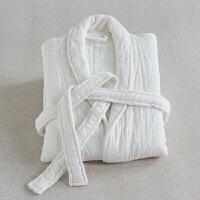 六层纯棉浴袍女冬日式浴衣男睡袍性感情侣中长款秋季加厚定制 白色 六层白色浴袍