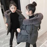 女童棉衣新款冬装儿童中长款加厚洋气秋冬季女孩棉袄外套 灰蓝 110