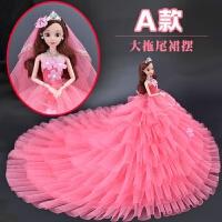芭比娃娃单个超大 会说话娃娃套装女孩公主衣服婚纱超大
