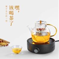 唐丰玻璃蒸煮茶壶单个家用电热花草烧茶器办公透明耐高温泡茶壶