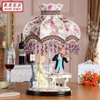 欧式摆件瓷偶客厅家居装饰艺术工艺品创意陶瓷人物弹钢琴 情侣合奏 台灯153A1