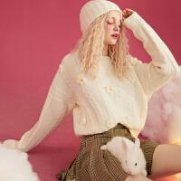 【叠券更优惠】妖精的口袋小花软奶毛衣女冬温柔风宽松外穿提花上衣