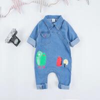 婴儿爬服婴儿衣服牛仔连体衣春秋季长袖爬服男女宝宝哈衣0-3-6-9个月童装XM-5