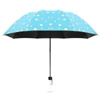 新品遇水开花晴雨伞女士两用防晒防紫外线黑胶遮阳折叠太阳伞