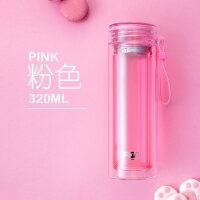 双层玻璃杯水杯男女创意透明盖便携过滤多色可选女花茶杯杯子抖音