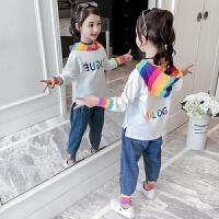 2019新款洋气小女孩卫衣儿童时髦两件套女童秋装套装