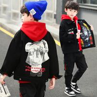 2019春秋季新款中大童男孩加厚两件套儿童男童秋装套装