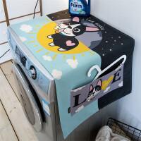北欧猫咪狗棉麻布艺滚筒洗衣机罩盖巾布收纳袋定制 55x140cm