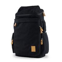 男包帆布包大包男士旅行包旅游学生背包户外潮书包 14寸隔层电脑包 学院风双肩包