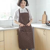 韩版时尚围裙简约无袖棉麻布艺家居厨房成人工作服男女罩衣