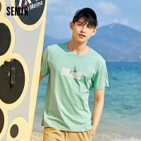 【限时抢价格:41.25元】森马短袖T恤男2021夏季新款圆领套头衫个性潮流韩版男士体恤上衣