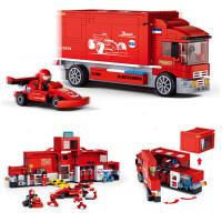 快乐小鲁班 儿童积木可变形方程式赛车卡车拼装积木玩具车 ( F1竞赛巡回卡车M38-B0375)