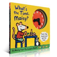 全店满300减100】What is the Time, Maisy? 小鼠波波 大开本时钟书 纸板书 趣味玩具书 幼儿