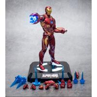 钢铁侠手办漫威可动复仇者联盟4MK50蜘蛛侠模型周边礼物 +发光底座 送漫威钥匙扣