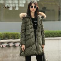 【满200减100 上不封顶】AMII[极简主义]冬装新款大毛领加厚宽松时尚A字羽绒服女外套
