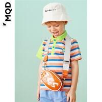 MQD童装男小童条纹POLO衫20夏小恐龙图案宝宝宽松上衣儿童保罗衫