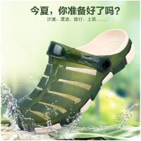 男士洞洞鞋夏季凉鞋防水沙滩鞋男生包头拖鞋子男士防雨拖鞋子