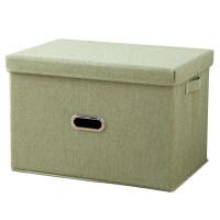 双响炮 折叠棉麻衣物收纳箱布艺 有盖衣柜收纳盒衣服整理箱储物箱