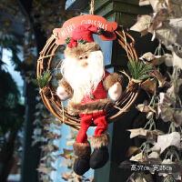 圣诞节装饰圣诞花环饰品老人雪人圣诞树挂件门饰藤圈场景布置门挂