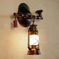 美式复古烟斗壁灯创意铁艺壁灯餐厅茶馆卧室过道仿古马灯煤油壁灯会所酒吧壁饰壁挂灯饰