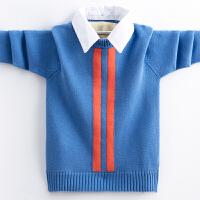儿童男孩衬衫领套头线衣秋冬男童加绒加厚毛衣中大童针织衫