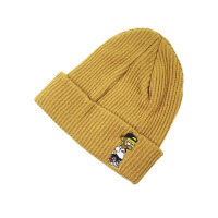 韩国冬天保暖毛线针织帽子男女 套头加厚双面刺绣巫师帽潮 M(56-58cm)