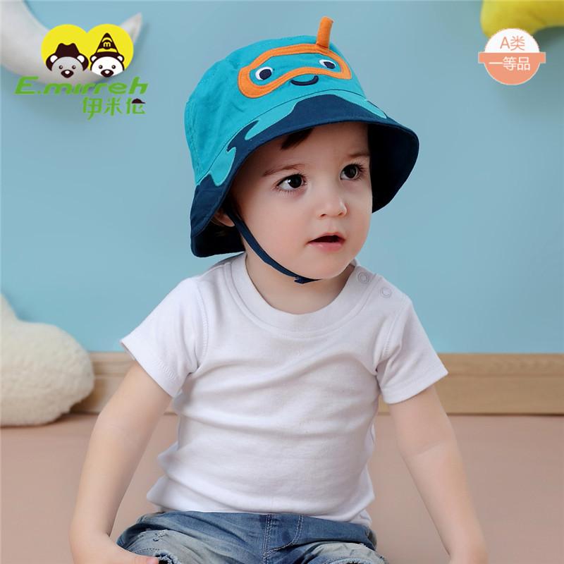 男宝宝薄款遮阳帽盆帽渔夫帽0-9-12月婴儿帽子儿童盆帽渔夫帽