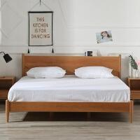 北欧风格全实木床日式家具简约现代双人1.5米1.8米主卧白蜡原木床 1800mm*2000mm 框架结构