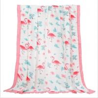 宝宝浴巾 纱布婴儿抱被四季通用 4层包边竹纤维纱布盖毯宝宝浴巾空调夏凉被wk-76