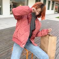 冬季新款韩版宽松立领长袖学生面包服保暖棉衣棒球服外套上衣女装 均码