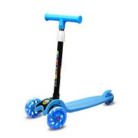 儿童滑板车3轮男孩溜溜车2-4-6-8岁四轮初学者宝宝单脚划板滑滑车 蓝色 静音轮 折叠轮