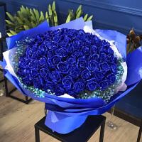 蓝色妖姬礼盒装蓝玫瑰花束鲜花永生花干花速递同城全国送深圳广州
