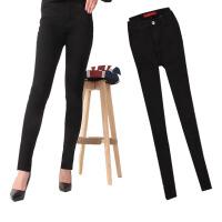 2017秋冬款纯黑色弹力高腰牛仔裤大码胖女铅笔小脚裤长裤显瘦 黑色