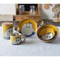 创意陶瓷餐具套装手绘蜡笔小新碗盘勺杯子家用瓷