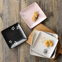 创意日式陶瓷盘子家用菜盘小清新点心盘好看的四方形个性餐具碟子