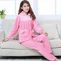 珊瑚绒睡衣女士秋冬季家居服套装法兰绒居家服长袖加厚