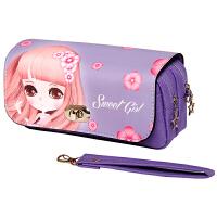 绍泽文化 BD-22099简约创意大容量帆布笔袋-甜心女孩 儿童学生铅笔袋/文具盒 紫色 当当自营