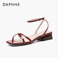 达芙妮2020夏新款网红仙女风时装凉鞋低跟中跟一字扣韩版百搭女鞋