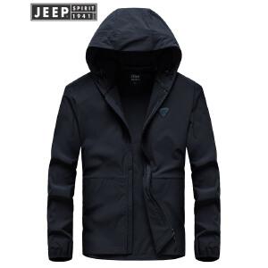 吉普JEEP春秋薄款连帽夹克 户外休闲冲锋衣外套轻薄单款夹克运动户外薄款外套