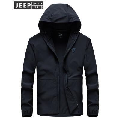 吉普JEEP春秋薄款连帽夹克 户外休闲冲锋衣外套轻薄单款夹克运动户外薄款外套户外轻便运动飞行夹克,飞一般的轻松与自由
