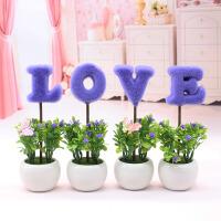 love仿植物小盆栽创意家居摆设客厅书桌电视柜迷你装饰假花摆件