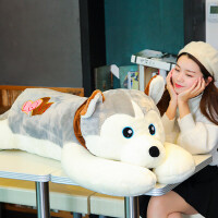 大号哈士奇公仔二哈布娃娃超大可爱毛绒玩具狗狗女孩睡觉抱枕玩偶 浅灰色 正版原版型 ― 1.6米(全长含尾巴)带拉链,可