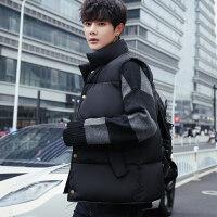 棉�R甲男秋冬季�n版潮流情�H款棉坎肩加厚保暖背心�R�A男外套 J黑色