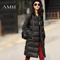 AMII[极简主义]冬装新款中长款加厚黑色过膝羽绒服女大码外套