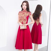 敬酒服新娘红色2018新款冬季短款修身结婚旗袍中式礼服裙女中长款 酒 X