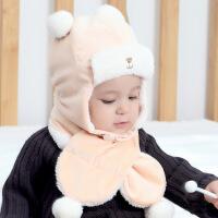 婴儿帽子秋冬保暖加绒护耳防风帽韩版可爱卡通幼儿小孩雷锋帽 +围巾